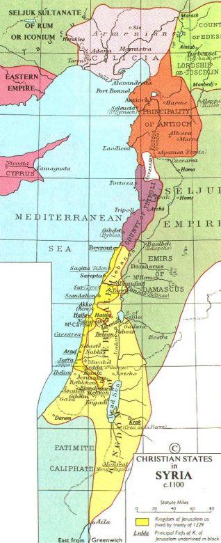 إمارات الصليبيين على الساحل السوري، وتظهر إمارة الحشاشين في مصياف باللون الأبيض